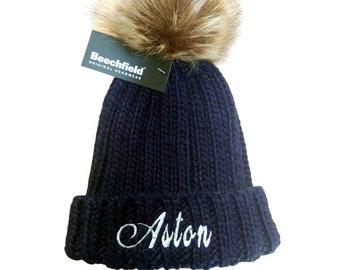 Beechfield Bobble Hat Girls Boys Kids Pom Pom Thermal Winter Hat