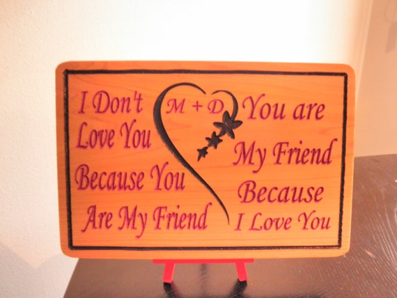 Carved Romantic Quotes Wooden Inspiration Words I Love Wood Etsy Fascinating Love Plaques Quotes