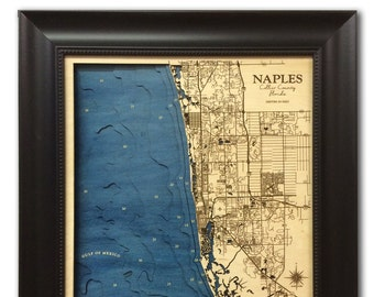 Naples Florida Dimensional Wood Carved Depth Contour Map - Customize With Your Home Information