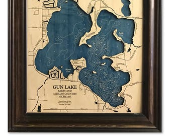 Gun Lake Michigan Dimensional Wood Carved Depth Contour Map - Customize With Your Home Information