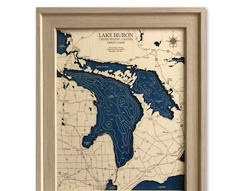 Lake Huron Dimensional Wood Carved Depth Contour Map - Customize With Your Home Information