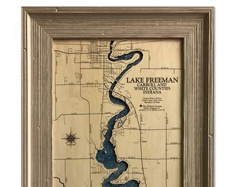 Lake Freeman Dimensional Wood Carved Depth Contour Map - Customize With Your Home Information