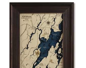 Topsham Merrymeeting Bay Dimensional Wood Carved Depth Contour Map - Customize With Your Home Information