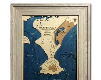 Prouts Neck Maine Dimensional Wood Carved Depth Contour Map - Customize With Your Home Information