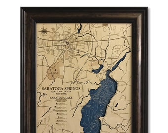 Saratoga Springs and Saratoga Lake Dimensional Wood Carved Depth Contour Map - Customize With Your Home Information