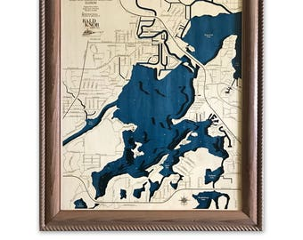 Pistakee Lake Dimensional Wood Carved Depth Contour Map - Customize With Your Home Information