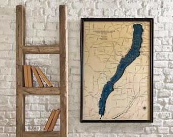 Canandaigua Lake Dimensional Wood Carved Depth Contour Map - Customize With Your Home Information