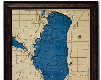 Lake Winnebago Dimensional Wood Carved Depth Contour Map - Customize With Your Home Information
