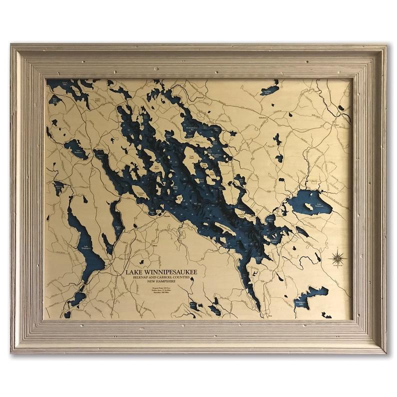Wooden 2D Cut Engraved LAKE WINNIPESAUKEE,NH Map Framed WALL ART laser engraved