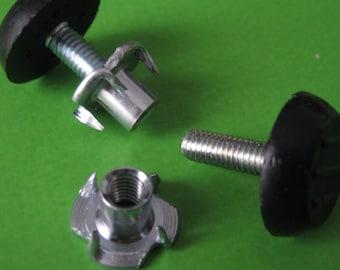 Adjustable Leveling M6 Feet Glide Screwed (Plastic/Metal) for Wood Furniture & Tee Nuts