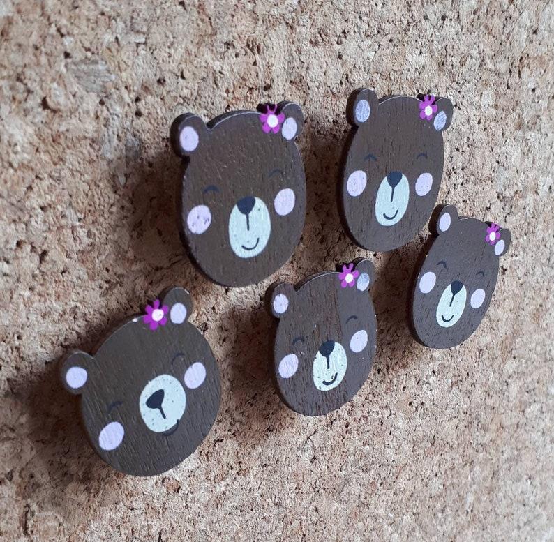 Wooden Mama Bear Decorative Push Pinsthumb Tacksdrawing Pins For Noticememocorkbulletin Boardswalls Homeoffice
