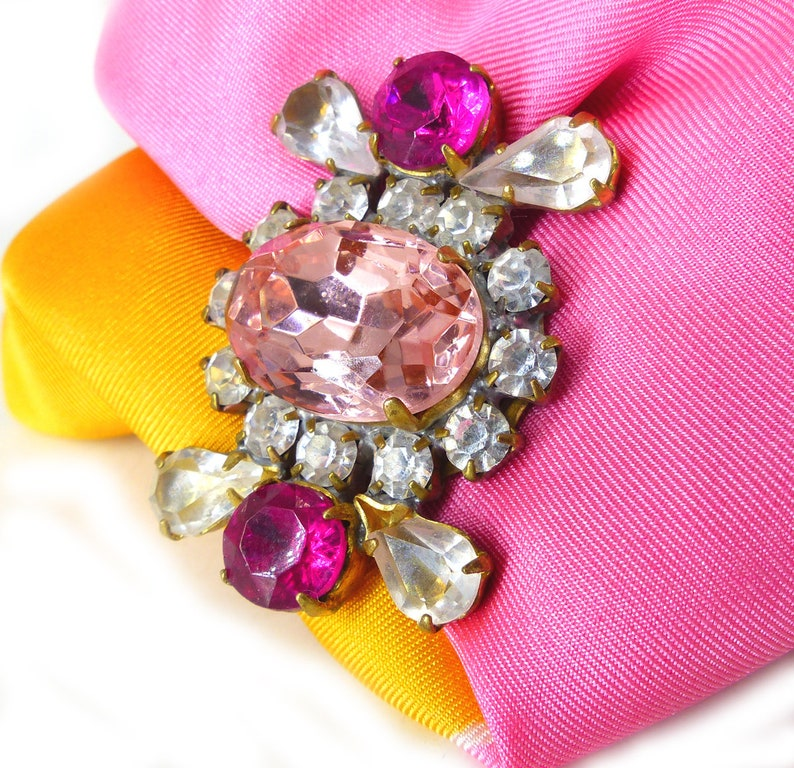 Pink silk back button Gift packaged baby pink surrounded by clear rhinestones Mag TAK\u2122 magnetic brooch Magnetic brooch fushia pink