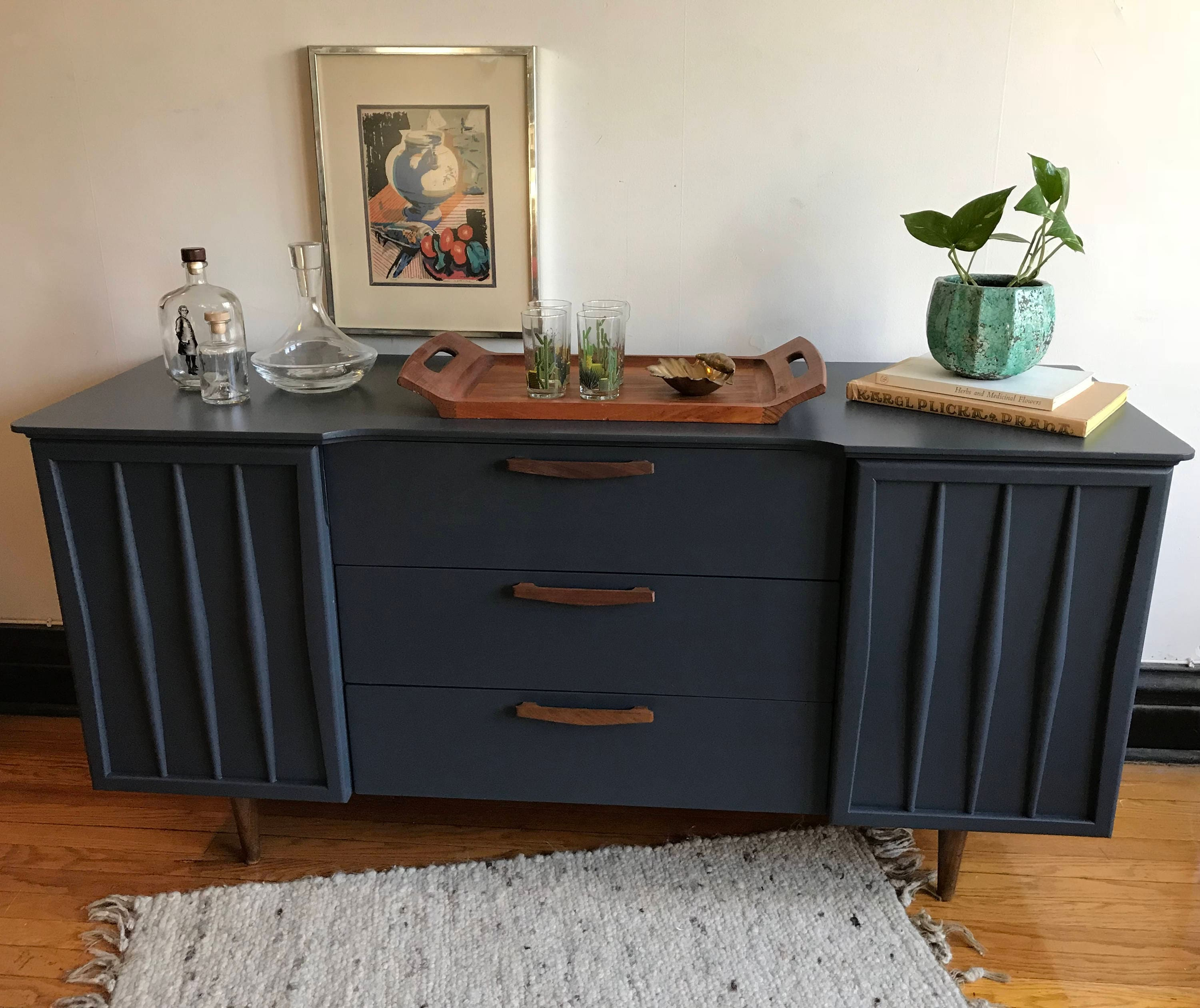 SOLDCharcoal Grey Mid Century Modern Credenza//Refinished