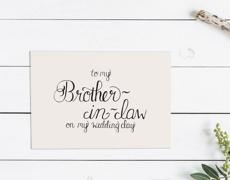hand lettered notecard with envelope folded To My New Brother-In-Law On My Wedding Day Card