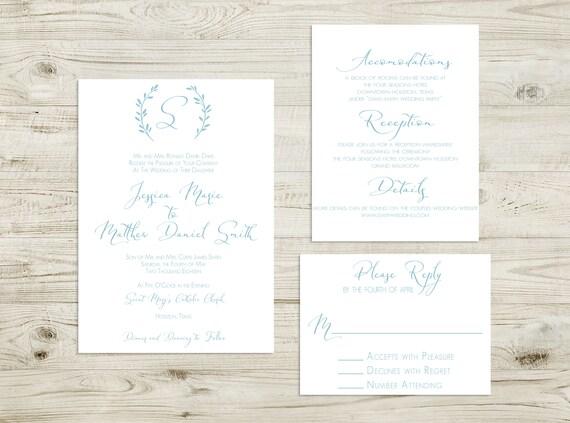 Français Classique Bleu Invitation De Mariage Invitation Calligraphie Calligraphie Moderne Suite De Invitation De Mariage Simple