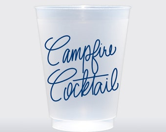 Campfire Cocktail  | Set of 8 16 oz Frosted Shatterproof Cup | Camping Cup | Fall Party, Thanksgiving, Football Tailgate Cup