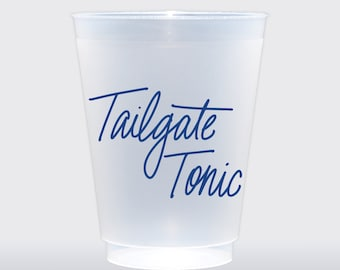 Tailgate Tonic  | Set of 8 16 oz Frosted Shatterproof Cup | Tailgate Cup | Texans Cowboys Astros Kentucky Kansas Royal Blue
