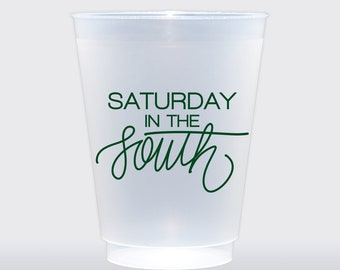 Saturday In The South  | Set of 8 16 oz Frosted Shatterproof Cup | College Football Tailgate Cup | Baylor Football Green