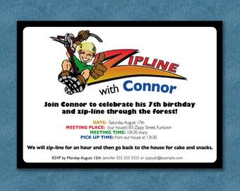 Zipline birthday etsy zipline party invite stopboris Gallery