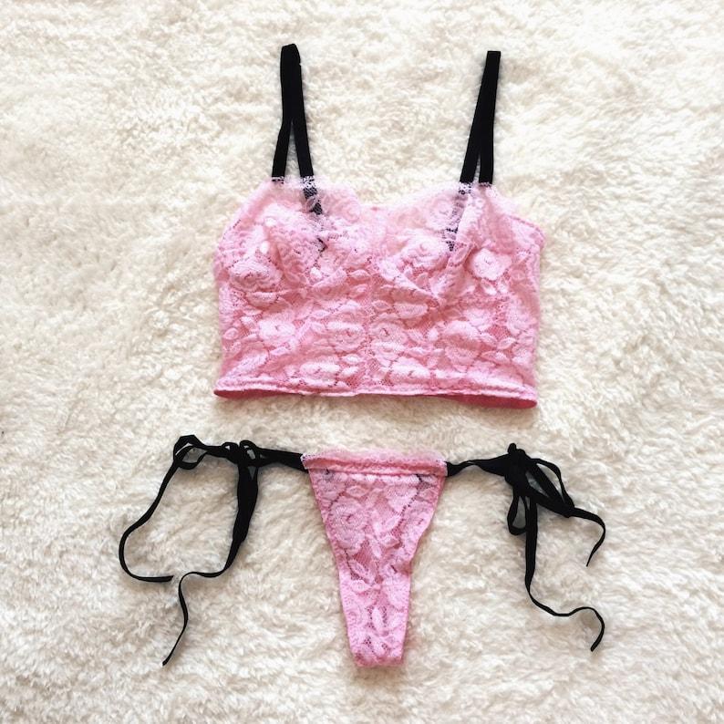 c7a87695a3962 Cotton candy lace lingerie set soft bra and panties