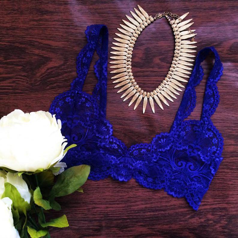 12066467d1972 Royal blue elegant lace bralette soft bra handmade lingerie