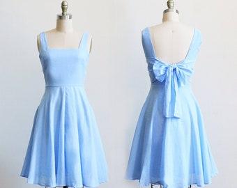 EMMA  - light blue bridesmaid dress. light power blue  vintage style sundress. short light denim blue bridesmaid dress circle skirt pockets