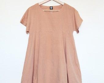 WEEKEND Dress - loose wide fit cotton linen dress in light peach nude. Trapeze flowy shift dress with pockets