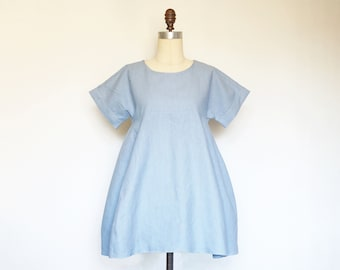 WEEKEND Dress - loose wide fit cotton linen dress in chambray blue. Trapeze flowy shift dress with pockets