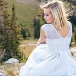 GOSSAMER | lace light blue bridesmaid dress. cinderella. modest cap sleeve lace vintage modern dress. short light blue dress with pockets