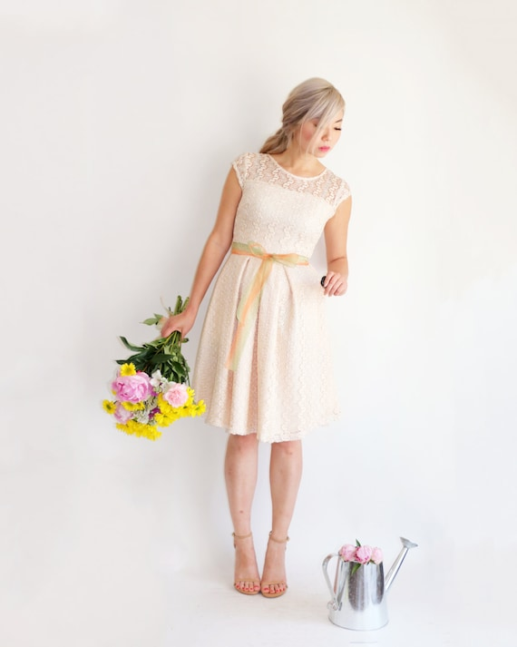 dress short inspired sleeve cocktail lace bridesmaid Champagne w vintage ivory GOSSAMER pockets wedding ivory lace short dress dress xwCP6SOq