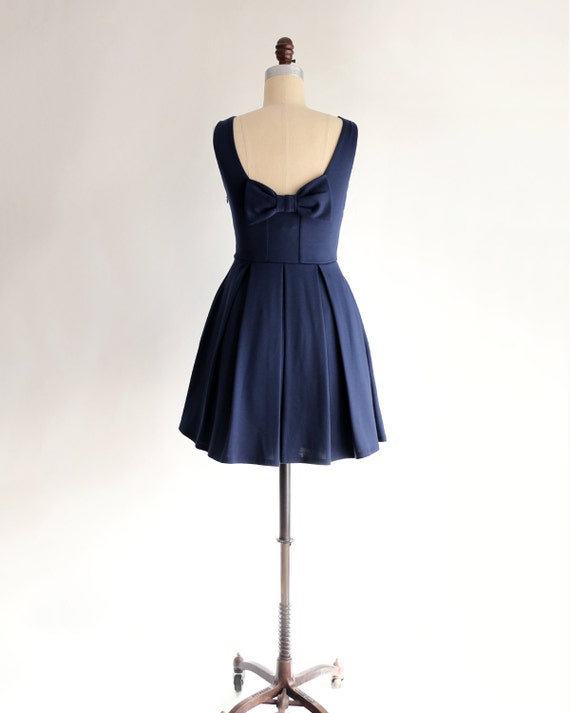 flare dress Vintage navy inspired blue bridesmaid bow short JANUARY and dress with Navy pockets with fit bridesmaids S4xqYwv