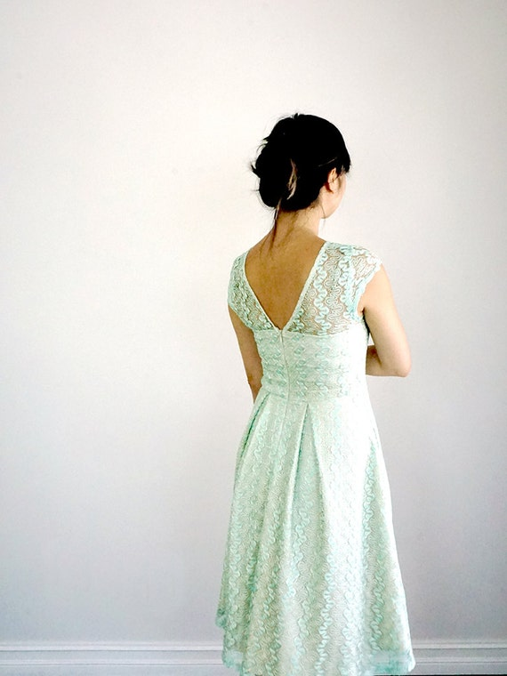inspired soft mint cap green lace pleated bridesmaid length sleeves dress Mint GOSSAMER lace knee full vintage skirt q6URnwOw