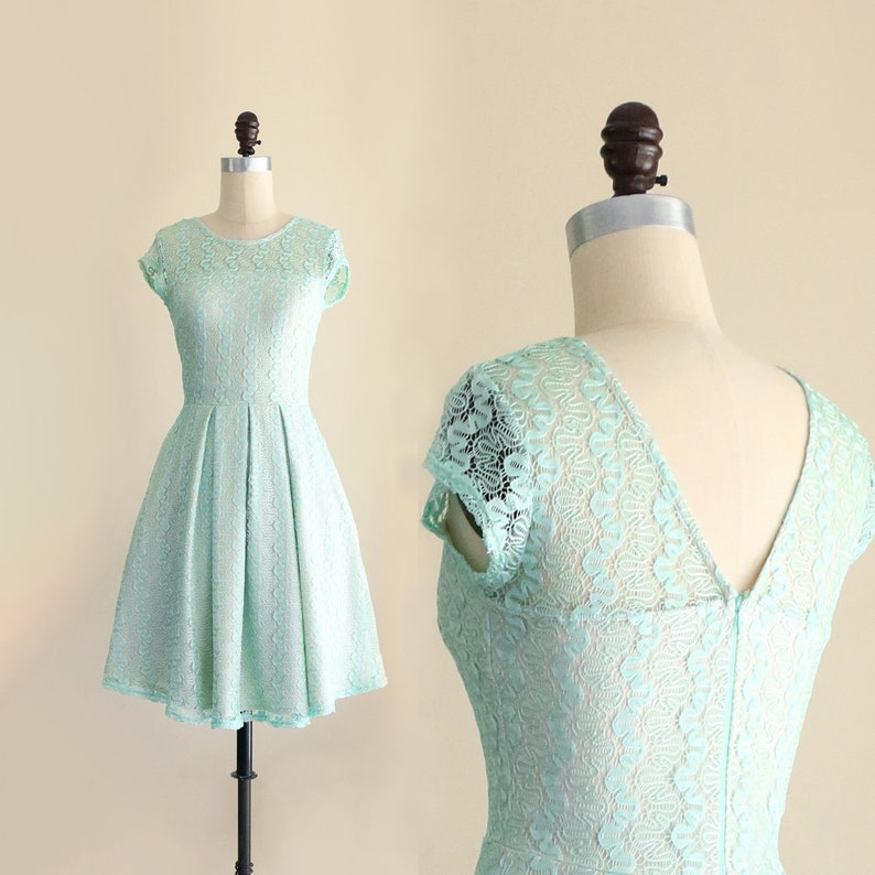 e343cfd62f GOSSAMER Mint lace bridesmaid dress. vintage inspired mint