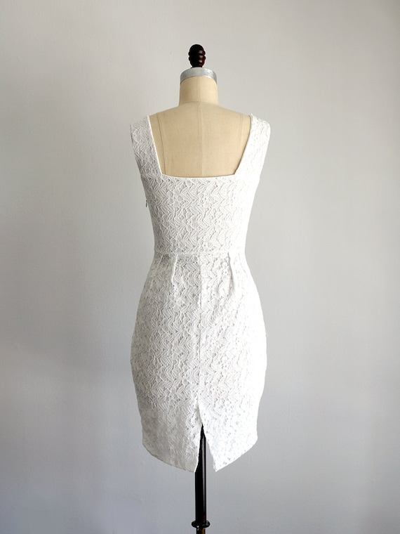 reversible Ivory V neck wiggle cocktail square dress LAUREN inspired white skirt neck sheath dress with Vintage wedding Summer or lace pdfwqz
