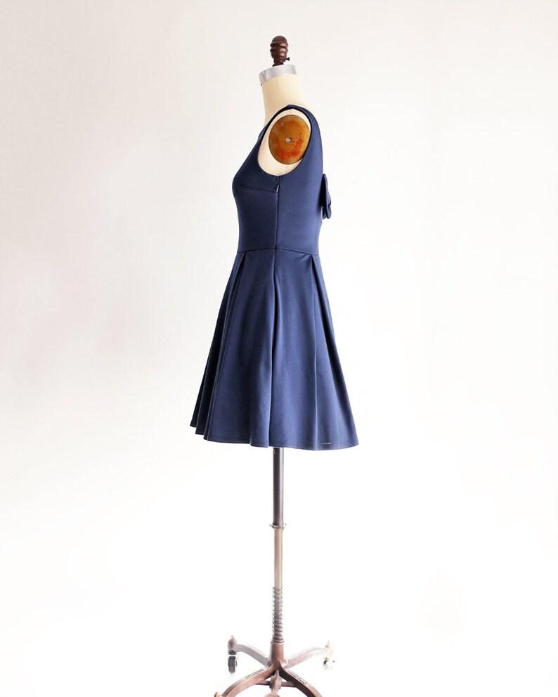 JANUARY back bow Navy blue bridesmaid dress with pockets Short navy blue party dress with bow