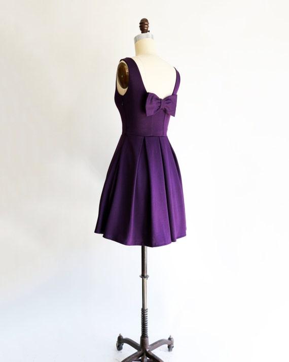 January Plum Purple Bridesmaid Dress Bow Pockets Pleated Etsy