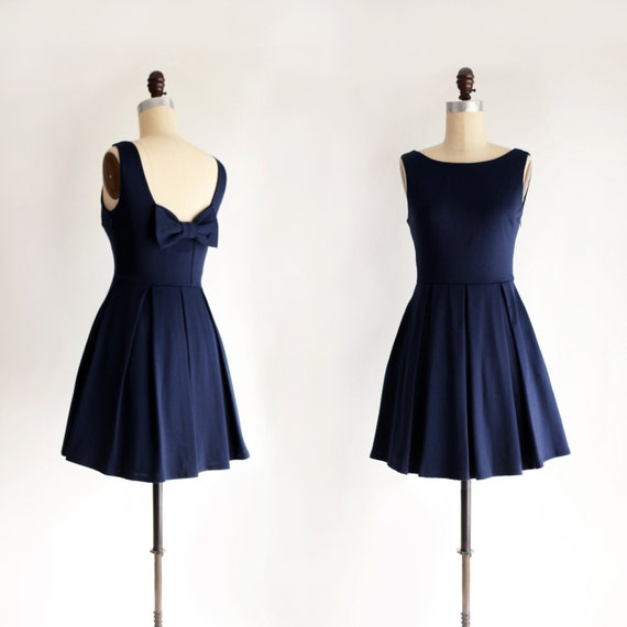 Vintage pockets Navy dress JANUARY bridesmaids bridesmaid blue navy flare bow with and inspired short dress fit with xYw6adqw