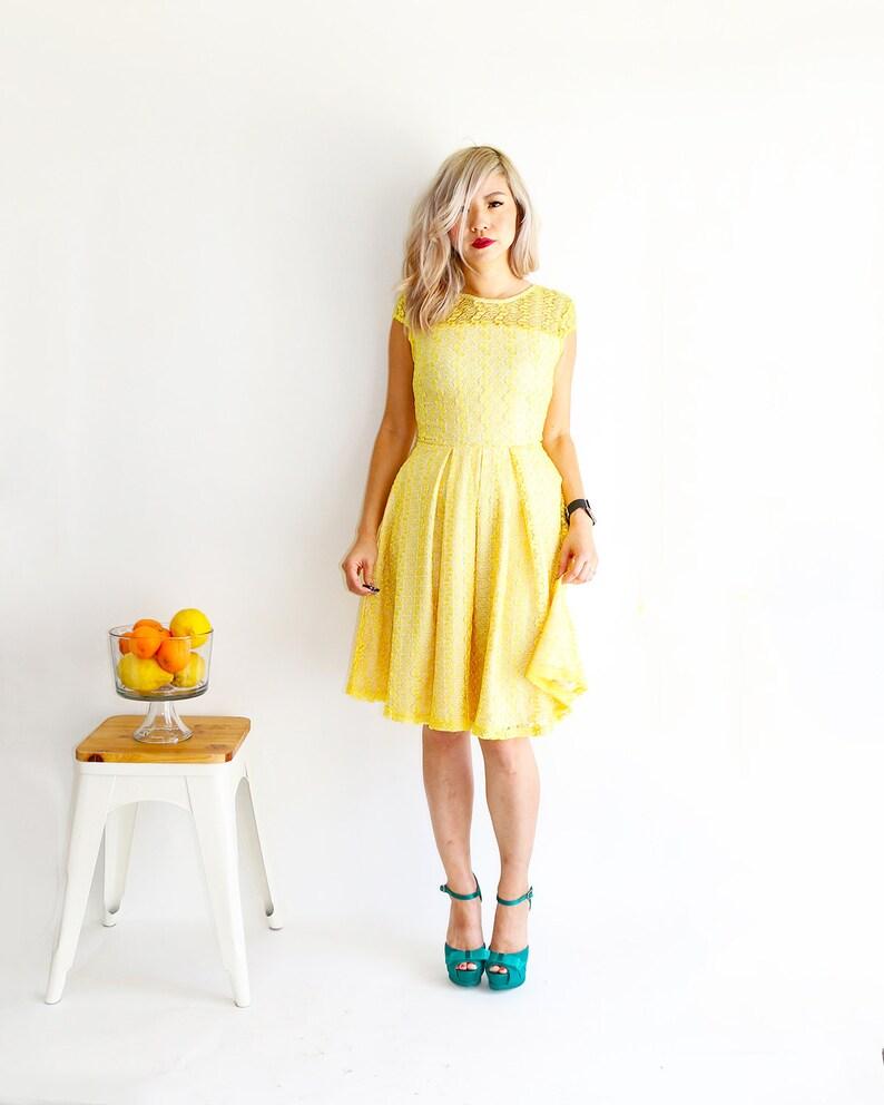5d57ce74e9 GOSSAMER Lemon bright canary yellow lace bridesmaid dress