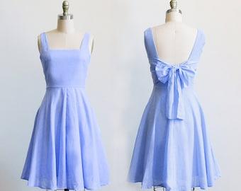 EMMA  - lavender purple bridesmaid dress. light purple vintage style sundress. short lilac lavender bridesmaid dress circle skirt pockets