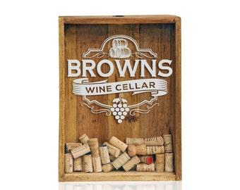 12x16 Shadow Box - Wine Cork Wedding Gifts - Personalized Shadow Box - Cork Holder