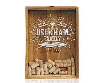12x 16 Shadow Box - Wine Cork Wedding Gifts - Personalized Shadow Box - Cork Holder