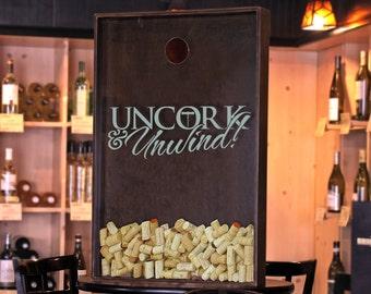 """24x36 Wine Cork Holder / Wall Decor Art - """"Uncork & Unwind"""" / Wine Quotes"""