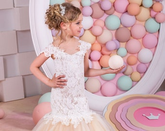Ivory and Cappuccino Flower Girl Mermaid style Dress -Wedding Party  Bridesmaid Mermaid Style Lace Tulle Flower Girl Dress 15-030 151036273957