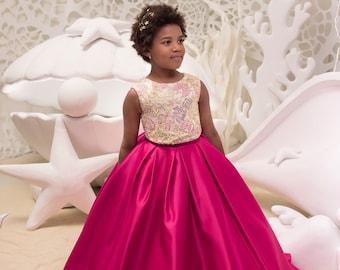 new products b87df 0bb97 Fucsia e nero fiore vestito ragazza compleanno matrimonio | Etsy