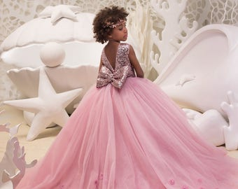2b9fc8558 Blush Pink Flower Girl Dress with Sparkling Sequins - Birthday Wedding  Party Holiday Bridesmaid Flower Girl Blush Pink Dress 21-068