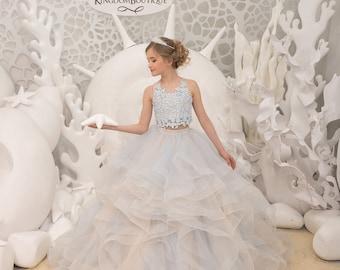 763578348 Light blue and beige Flower Girl Dress - Birthday Wedding Party Holiday  Bridesmaid Flower Girl Light blue and beige Tulle Lace Dress 21-138