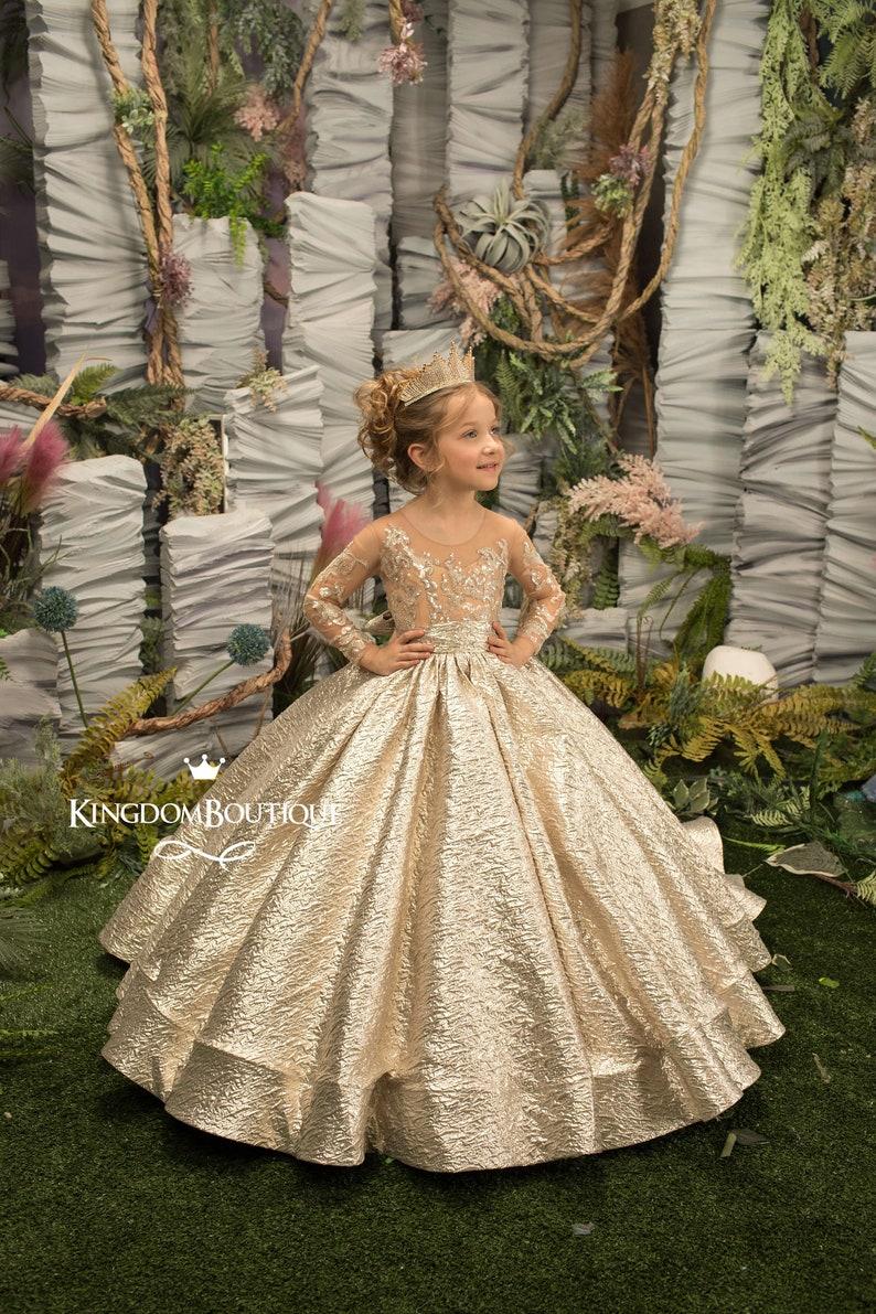 Gold Flower Girl Dress Birthday Wedding Party Holiday image 0