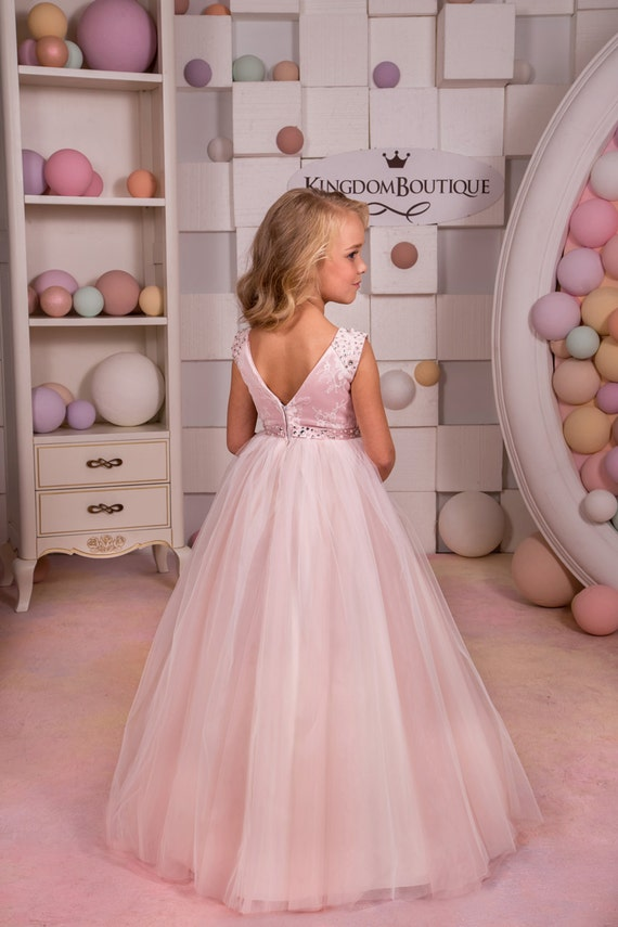 Erröten rosa Spitze Tüll Blumenmädchen Kleid Hochzeitsfest | Etsy