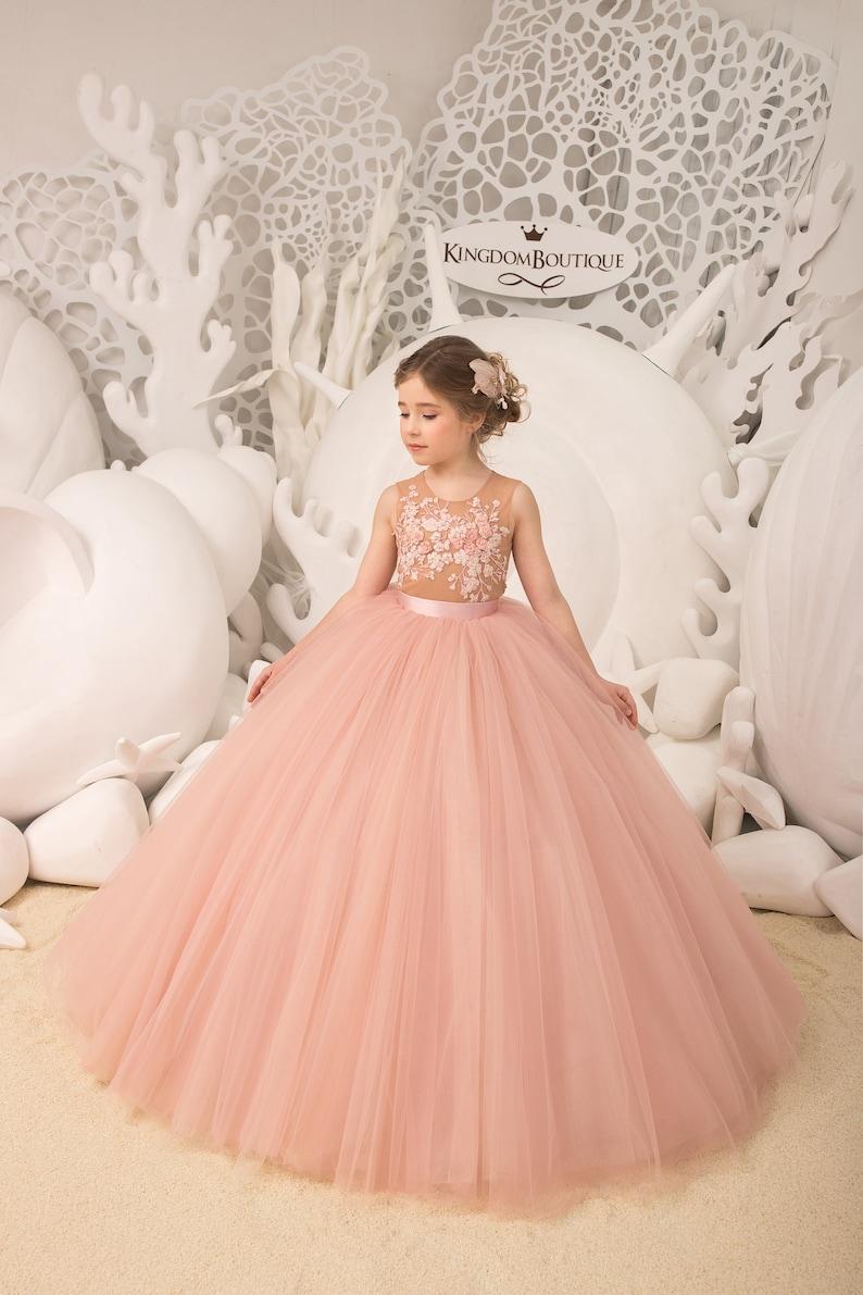 694b786f7d73 Blush pink and yellow Flower Girl Dress Birthday Wedding | Etsy