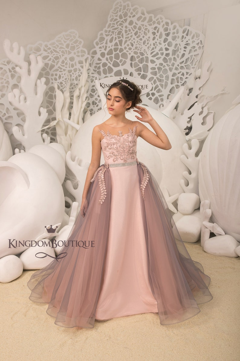 e00392d6be4 Blush pink and Grey Flower Girl Dress Birthday Wedding party